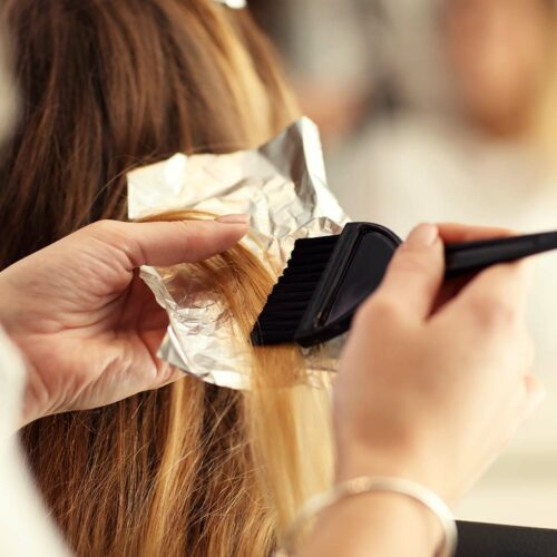 color dye being applied to hair
